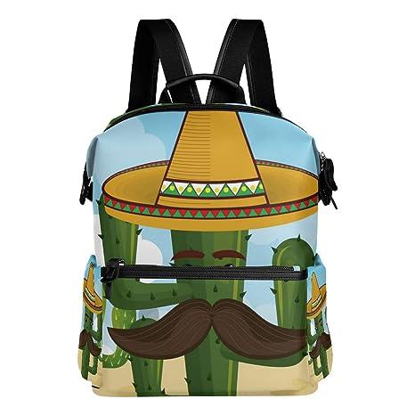 TIZORAX Carácter de Cactus con Sombrero Mexicano Mochila Escolar Colegio  Bolsas de Días Bolsas de Libros dd1281017cb