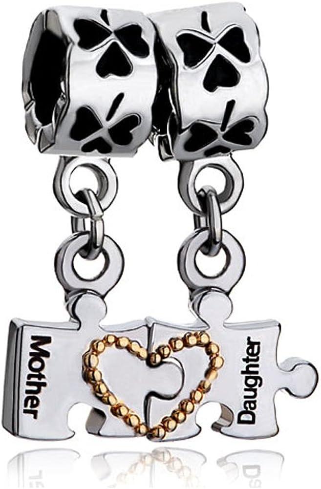 uniqueen del Día de la Madre Regalos Madre Hija autismo puzzle Corazón Trébol de cuatro hojas charms colgante Beads Fit Pandora pulsera