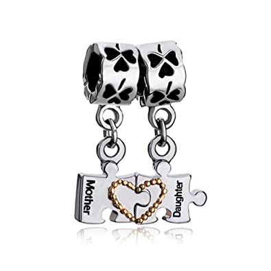 63164905e Image Unavailable. Image not available for. Color: Q&Locket Mother Daughter  Charms Heart Love Dangle Puzzle Bead for Bracelet