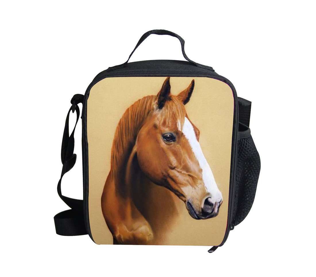 Amzbeauty Horse Lunch Box for Kids Insulated Thermal Freezable Square Lunch Bag AMZ-FUD-G-4943G