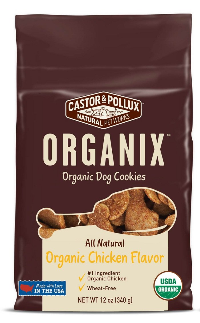 organix Organic Dog Cookies – Chicken Treats, 12-Ounce Packages Pack of 4