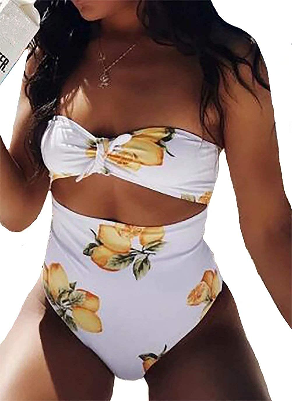 cac4cab736 Women's One Piece Lemon Print Strapless Bandeau Swimsuit Cutout High  Waisted Monokini Bathing Suits at Amazon Women's Clothing store: