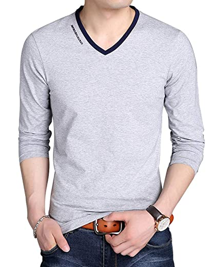d47f72c4 JNC Men's V Neck Casual Slim Fit Long/Short Sleeve Fashion Printed T ...