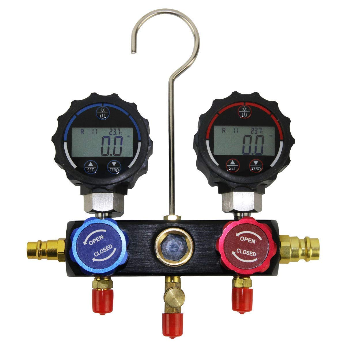 Elitech High-tech Digital Pressure Gauge A/C Diagnostic Manifold Gauge Kit for UP to 37 Types of Refrigerant Testing and Monitoring DMG-1 TPM-30A