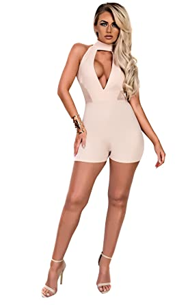 5bd5cef7285 Ikrush Womens Miriam Halterneck Playsuit Nude  Amazon.co.uk  Clothing