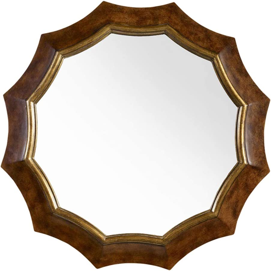 Amazon Com Fancy Vintage Decorative Wall Mirror Wood Round Hanging Mirror Diameter 31 Background Living Room Entryway Home Kitchen