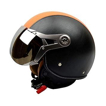 CARACHOME Casco Moto Vintage, Casco Patinete con Máscara De ...