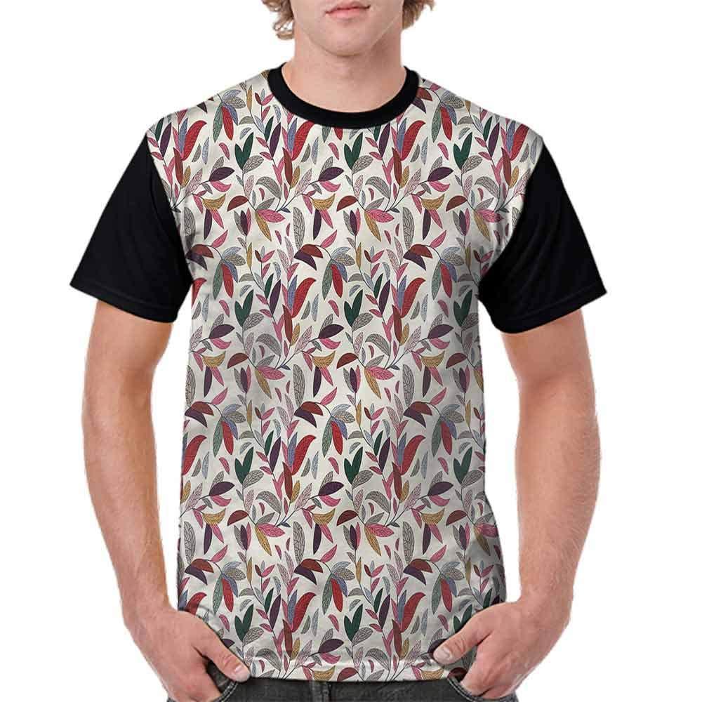 BlountDecor Trend t-Shirt,Modern Swirls Leaves Fashion Personality Customization