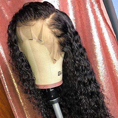 Brazilian Remy Hair 150% Density Full Pre Plucked Natural Hairline Long Curly Human Hair Lace Front Wigs for African American Black Women with Baby Hair 20inch