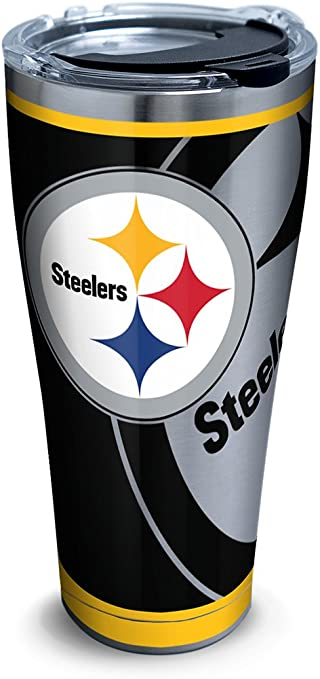 Tervis 1300007 Nfl Pittsburgh Steelers Rush Stainless Steel Tumbler With Lid 30 Oz Silver