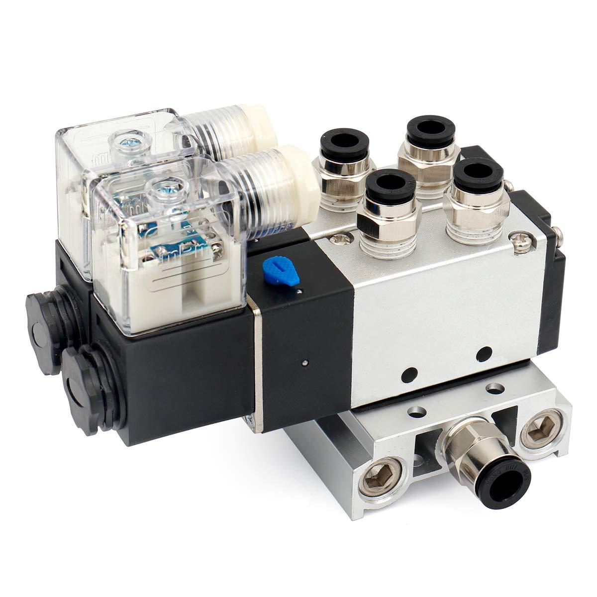 Baomain Pneumatic Solenoid Valve 4V210-08 AC 110V 2 Position 5 Way 2 Connected Base Muffler