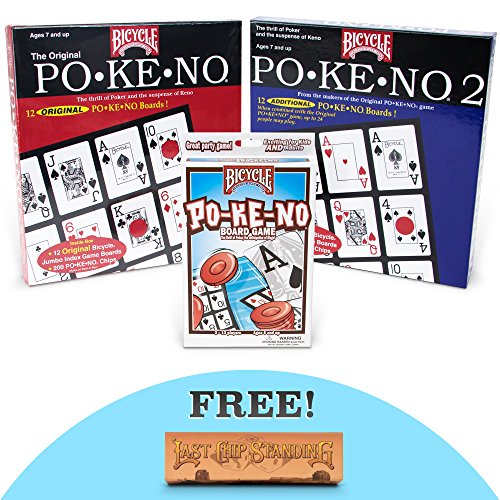 - Pokeno Party Pack: Original Pokeno, Pokeno 2, and Lo-Vision Pokeno Card Games with Free Brybelly Last Chip Standing Dice Game