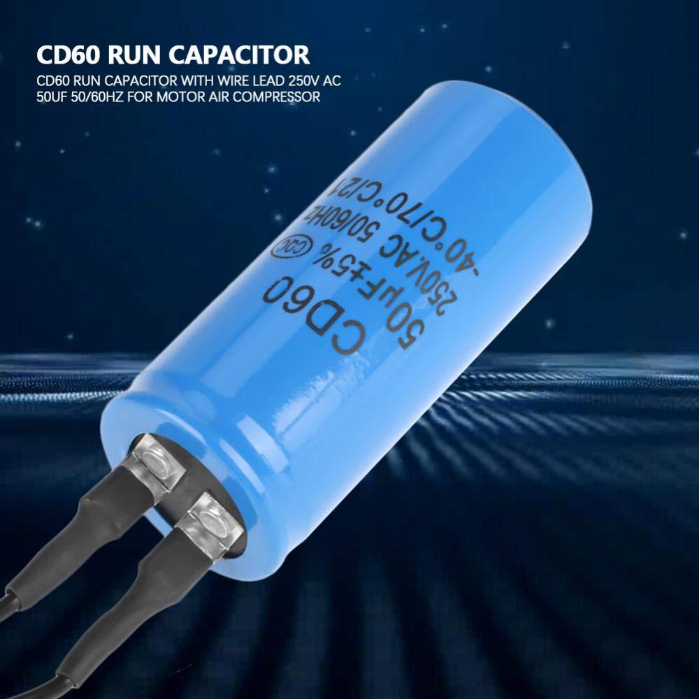 Condensatore di marcia CD60 con cavo 250V CA 50uF 50//60Hz per componenti elettronici kit motore compressore daria Condensatore di marcia CD60 Condensatore CD60