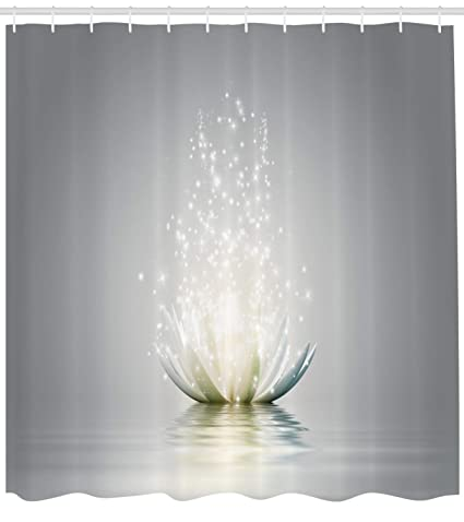 Ambesonne Lotus Shower Curtain Petals Boho Inspiration Relax Exotic Waterlily Picture Cloth Fabric