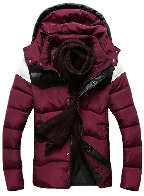 EKU Men Jacket Hit Color Stitching Leather Detachable Hood Coats l red