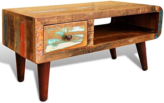 vidaXL Antique Coffee Table Rustic Reclaimed Wood Living Room Furniture Curved Edge