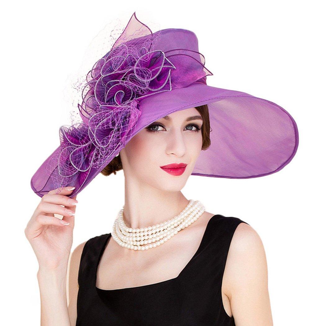 Ladies Kentucky Derby Hat Organza Church Fedoras Vintage Purple Wide Brim Hat