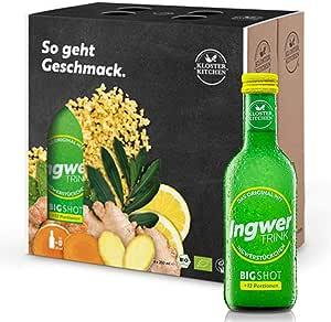 Kloster Kitchen JengibreTRINK Bigshot - Premiados shots de jengibre, 6 botellas de 250 ml, 12 shots en una botella de vidrio, con trozos de jengibre orgánico y vegano