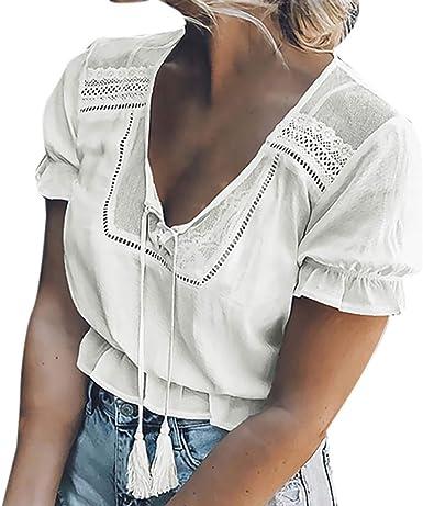 Qingsiy Blusa Mujer de Fiesta de Mujer Elegantes Camisa de Verano Mujer Camiseta de Manga Corta con Estampado de Mangas Cortas para Mujeres en Verano Tops Blusa t Shirt (Blanco, M): Amazon.es: