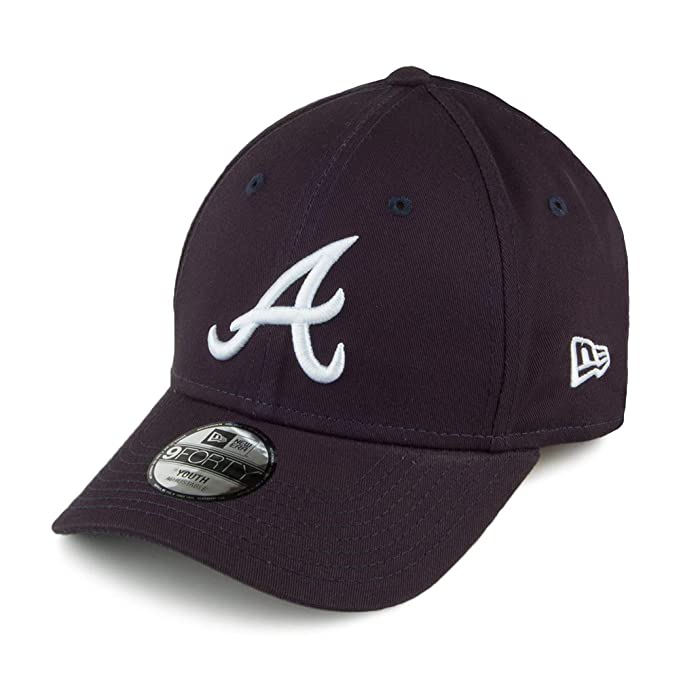 best service c6eea ee906 New Era Kids 9FORTY Atlanta Braves Baseball Cap - League - Navy Child ADJ.