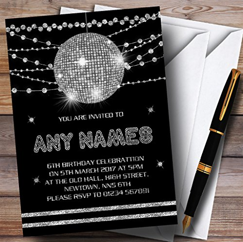 Silver Disco Ball Invitations Childrens Birthday Party Invitations -