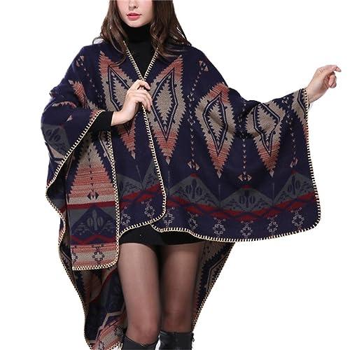 honghu signore cardigan poncho cape velo di bene soft corda maglione autunno - inverno dark blue 4