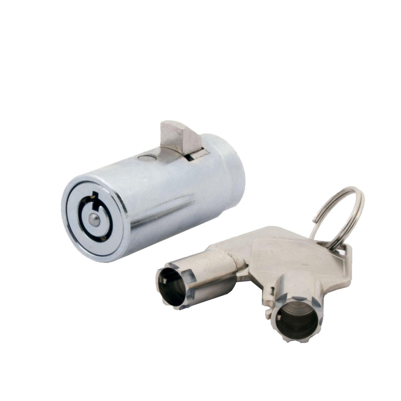 FJM Security FJM-2501B-KA High Security Vending Machine Lock with Tubular Keyway and Chrome Finish, Keyed Alike
