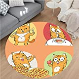 Nalahome Modern Flannel Microfiber Non-Slip Machine Washable Round Area Rug-Cute Cat Cartoon Character Having Food Breakfast Knife Fork Pizza Apple Yellow Red Green area rugs Home Decor-Round 79''