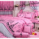 Cliab Pink Paris Bedding Twin Size Girls Bedding Set Rustic Rural Bedding 100% Cotton 3pcs