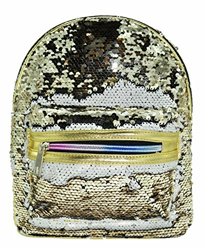 Mermaid Reversible Sequin Design Backpack (Gold/White) (Strap Two Sequin)