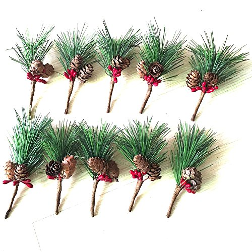 Htmeing Small Artificial Pine Picks for Christmas Flower Arrangements Wreaths and Holiday Decorations (10 pcs)]()