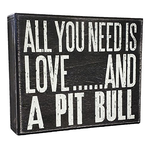 (JennyGems All You Need is Love and a Pit Bull (Pitbull) - Stand Up Wooden Box Sign - American Pit Bull Terrier Home Decor - Pitt Decorations and Accessories - Dog Artwork, Pitbull Mom)