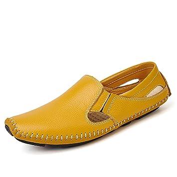 Xiaojuan-shoes, Mocasines Casual Drive para Hombre y Mocasines de Verano de Cuero Huecos