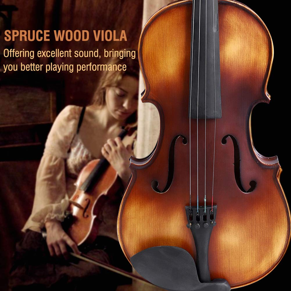 16inch Viola, Handcrafted Spruce Viola Solid Wood Acoustic Viola with Case, Bow, Bridge and Rosin Accessory for Beginners by Zerone (Image #5)