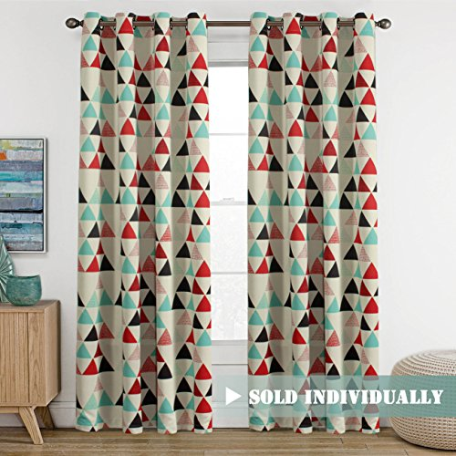 H.Versailtex Geometry Triangle In Red/Beige/Stone Blue Pattern Blackout  Kids Room Window Curtains, Antique Copper Grommets, 52 Inch Wide By 84 Inch  Long   1 ...