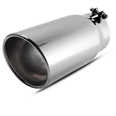 AUTOSAVER88 4 Inch Inlet Chrome Exhaust Tip, 4 x 5 x 12 Inch Chrome-Plated Finish Stainless Steel Diesel Exhaust Tailpipe Tip, Bolt/Clamp On Design: Automotive