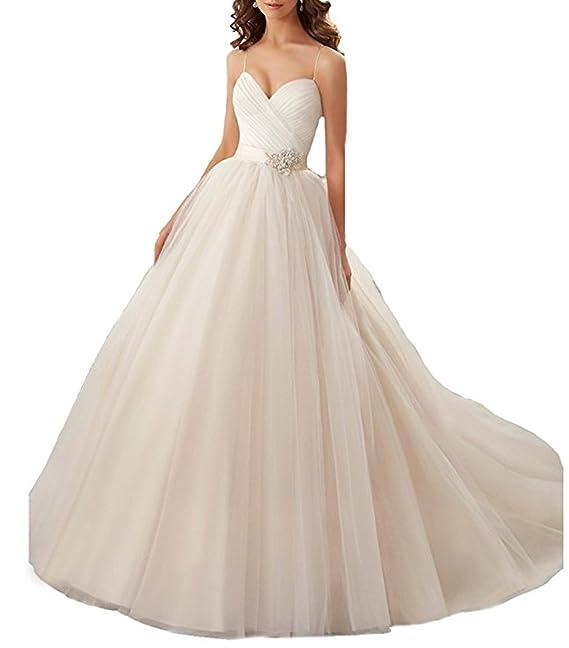ANJURUISI Simple A-Line Straps de las mujeres Sexy Vestidos de novia Backless vestido de novia: Amazon.es: Ropa y accesorios