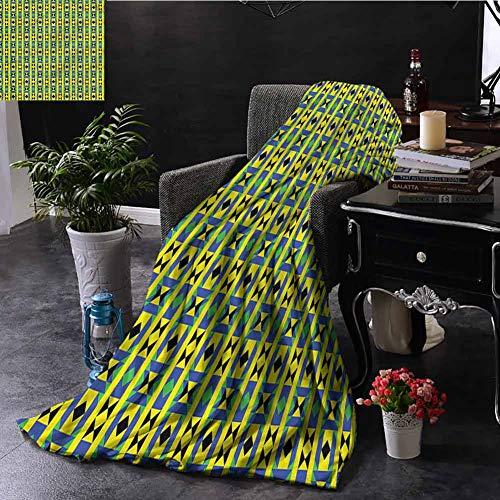 SSKJTC Kente Pattern Green Throw Blanket Double-Sided Printing Geometric Kenya Sofa Camping Reading Car Travel W80 xL60 (Kenya Sofa)
