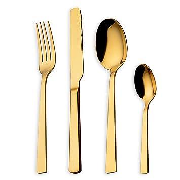 HOMQUEN Juego de cubiertos 24 piezas Juego de platos con titanio dorado, juego de cubiertos de acero inoxidable 18/10, juego de cucharas tenedores, servicio ...