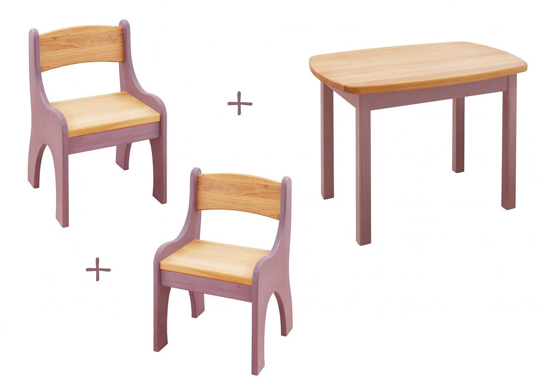 BioKinder 24321 Spar-Set: Levin Kindertisch mit 2 Stühlen Erle flieder lasiert
