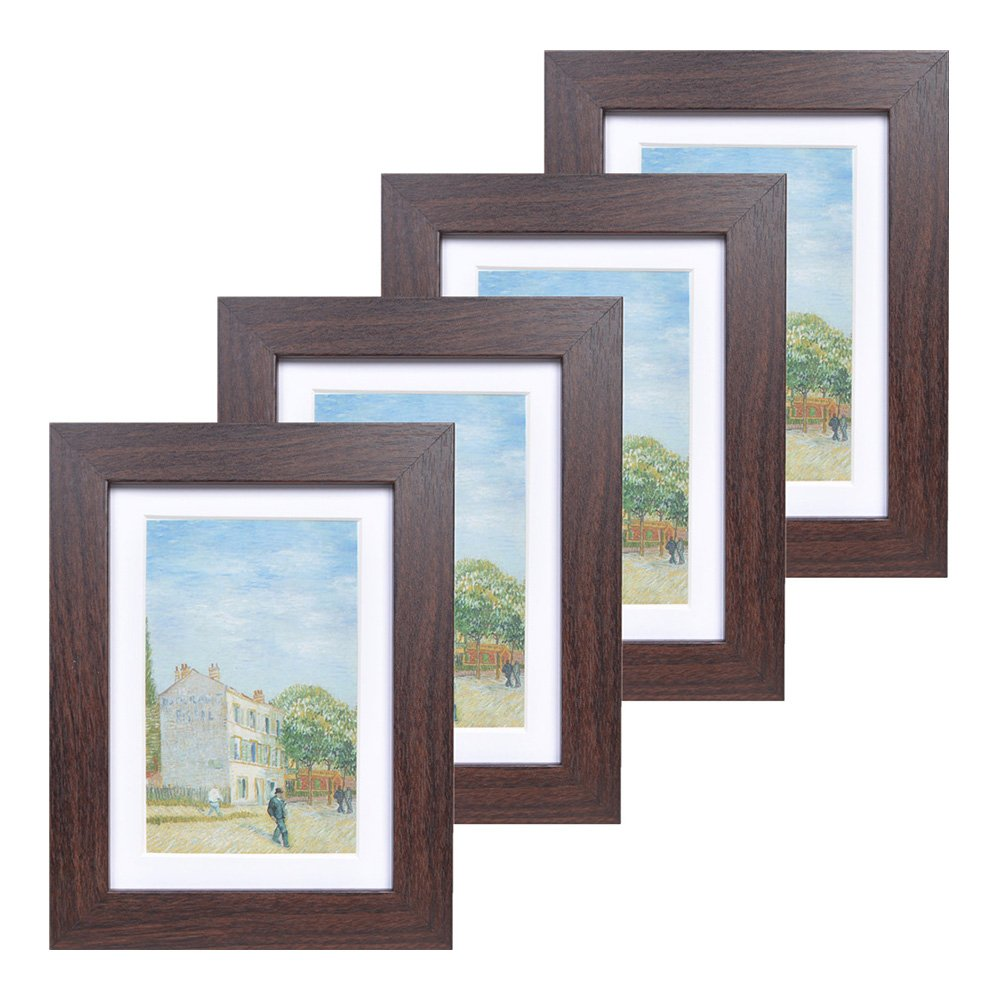 5x7 Wood Picture Frame - Flat Profile - Set of 4 - for Picture 4x6 with Mat or 5x7 Without Mat (Walnut) by Muzilife