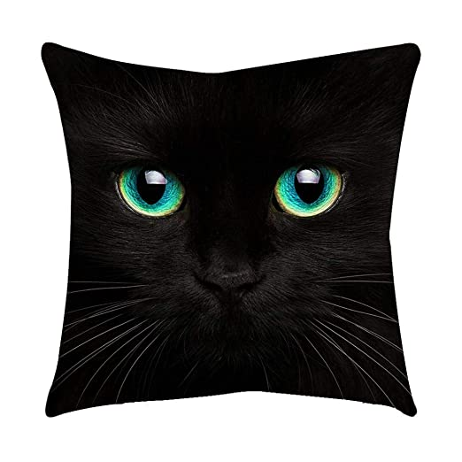 VJGOAL Moda Lindo Negro Ojos de Gato impresión en casa Decorativo Suave sofá cómodo Cojín Cuadrado Funda de Almohada(45_x_45_cm,Negro2)