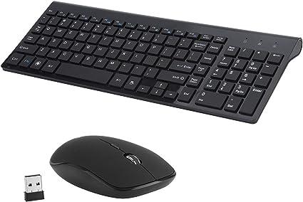 Teclado y Ratón inalámbrico, teclado inalámbrico de 2,4 GHz Silencioso USB Combo de ratón con teclado numérico para la computadora, escritorio, PC, ...