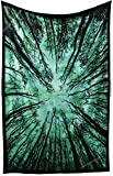Amitus Exports(TM) Premium Quality 1 X Forest Tree Wall Hanging 79''x53''(Approx.) Inches Green Colour Cotton Fabric Tapestry Hippy Indian Mandala Throws (Handmade In India)