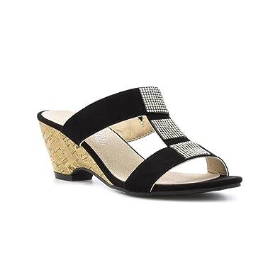 1c37955f95 Lilley Womens Black Diamante Wedge Mule Sandal: Amazon.co.uk: Shoes ...