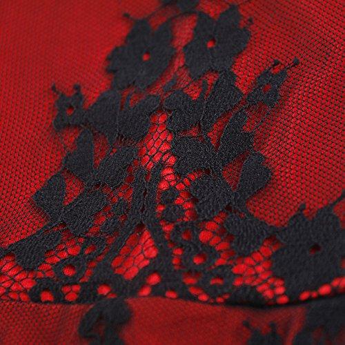 Skirt Dress Collar Red Lace Pencil K00019 Bobbycool Ladies Dress Sexy 7wFqHq