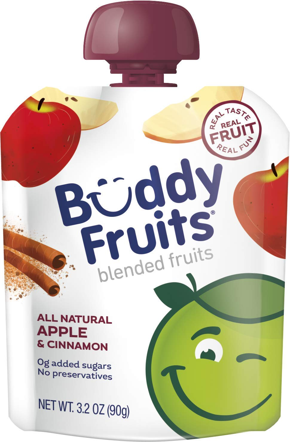 Buddy Fruits Pure Blended Fruit To Go Apple and Cinnamon Applesauce | 100% Real Fruit | No Sugar, Non GMO, Vegan, Gluten Free, No Preservatives, BPA Free , Certified Kosher | 3.2oz Pouch 18 Pack
