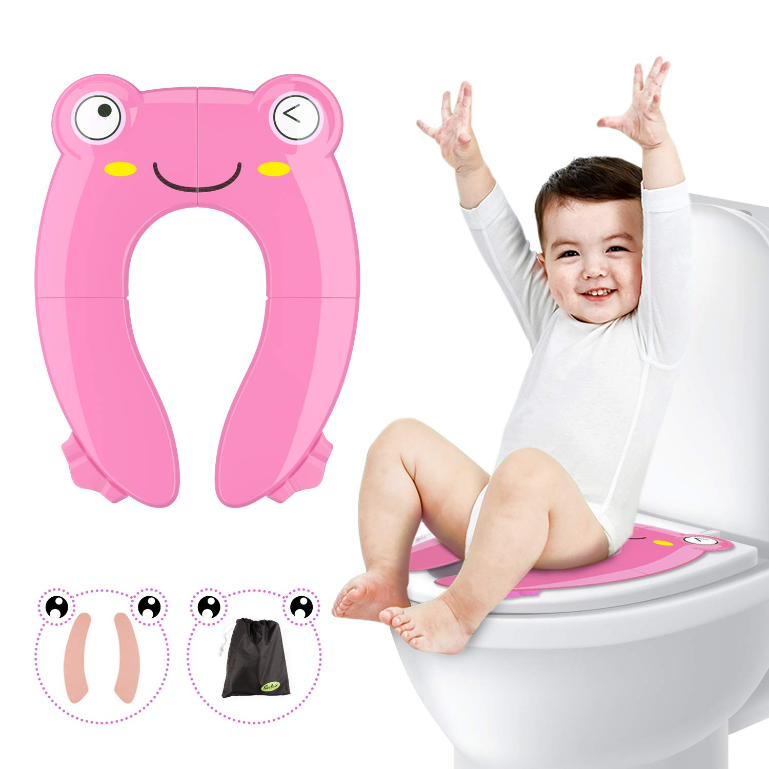 Fansteck Foldable Potty Training Seat, Portable Non-Slip Pinch-Proof Travel Potty Toilet Seat for Boys, Girls, Babies, Toddlers, Kids, with Extra Soft Reusable Mats and Carry Bag, Frog Shape,Pink