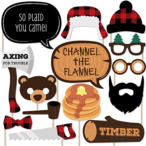 (Big Dot of Happiness Lumberjack - Channel The Flannel - Buffalo Plaid Photo Booth Props Kit - 20)