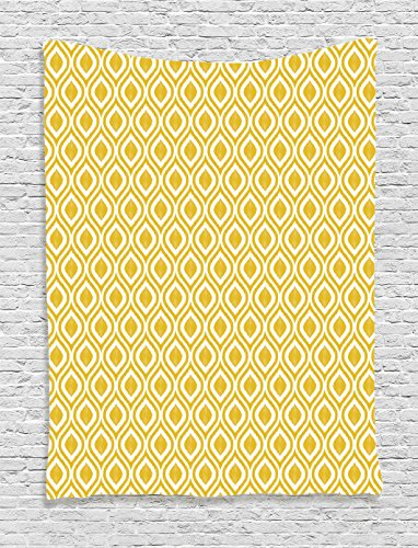 Ambesonne Ikat Decor Collection, Geometric Ornate Mesh Ikat